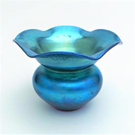 ",BLUE AURENE GLASS VASE WITH FLARING RUFFLE 3.75"" TALL SIGNED AURENE 2636"