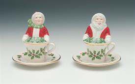 ,FIGURAL SALT & PEPPER SHAKERS FEATURING MR. & MRS. CLAUS IN TEA CUPS