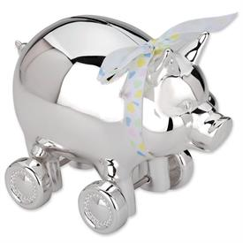 -$640 PIG BANK W/WHEELS  SILVERPLATE