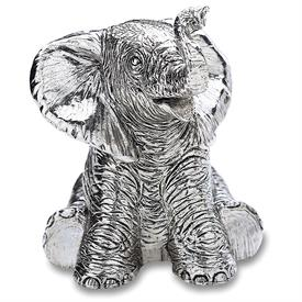 "-$538 ELEPHANT MUSICAL BOX. PLAYS ""TOY SYMPHONY"". SILVER PLATE. 3.5"" TALL"