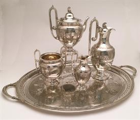 ,GRECO-ROMAN STYLE 4PC COFFEE & TEA SERVICE 73.11 TROY OZ. BY MARTIN, HALL & CO., LONDON, CA 1874. INCLUDES THE MATCHING SILVER PLATED TRAY