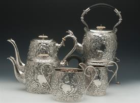 ,JOHN HENRY POTTER 5PC TEA SET W/KETTLE. CIRCA 1900 (1902 ON KETTLE). MADE IN SHEFFIELD, ENGLAND. CONTAINS 126.25 TROY OUNCES OF 925 SILVER
