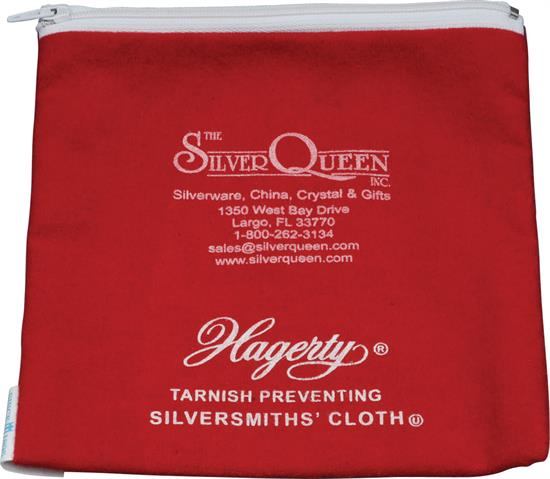 HAGERTY ORNAMENT KEEPER  5X5 TARNISH PREVENTING SILVERSMITH CLOTH RED WITH ZIPPER.