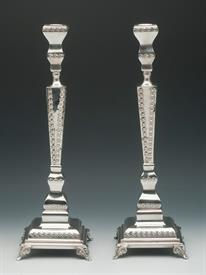 ",HAZORFIM 14"" CANDLESTICK PAIR. FOOTED WITH ORNAMENTAL DESIGN. CONTAINS 18.20 TROY OUNCES OF .925 STERLING SILVER. MADE IN ISREAL."