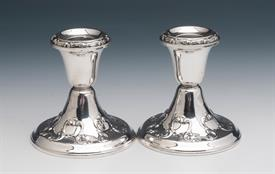 "Gorham Consule Candlesticks Pair 3.5"" tall sterling silver Strasbourg or Chantilly looking pattern Condition 8 of 10 underneath some dings"