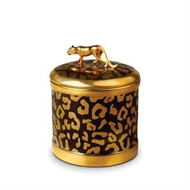 """-C496 CANDLE 4X4.5"""" BLACK & GOLD SPOTTED BASE WITH GOLD LEOPARD ON LID."""