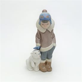 ",2097 GRES 'ESKIMO BOY WITH POLAR BEAR CUB' FIGURINE. RETIRED. 9"" TALL"