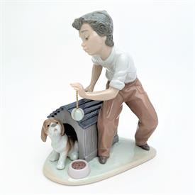 ",5797 'COME OUT & PLAY' BOY & DOG FIGURINE WITH ORIGINAL BOX. 7.8"" TALL, 6"" LONG, 5.5"" WIDE"