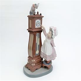 ",5347 'BEDTIME' GIRL WITH CAT ON CLOCK FIGURINE. CA. 1986-1998. 10.5"" TALL"