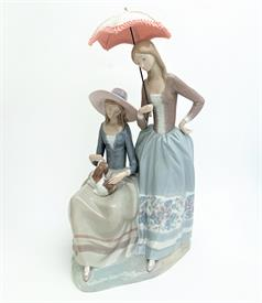 ",4840 RARE 'HARMONY GROUP' LADIES WITH PARASOL & DOG FIGURINE. 18.5"" TALL, 9.5"" LONG, 10.5"" WIDE"