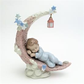 ",6479 'HEAVENLY SLUMBER' BABY BOY SLEEPING ON THE MOON FIGURINE WITH ORIGINAL BOX. 7"" TALL, 5.75"" LONG, 2.5"" WIDE"