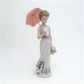 ",6809 'FLOWERS FOR EVERYONE' GIRL WITH FLOWER CART & LAMP POST FIGURINE WITH ORIGINAL BOX. 15"" TALL, 10.5"" LONG, 8.5"" WIDE"