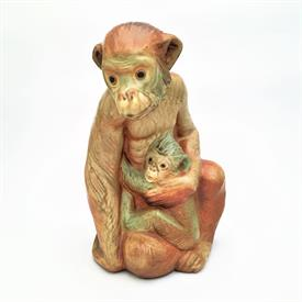 ",MONKEY/CHIMPANZEE WITH BABY #01012000 PRODUCED 1970-1975 11.5""T GRES/MATTE GLAZE BY JUAN HUERTA"