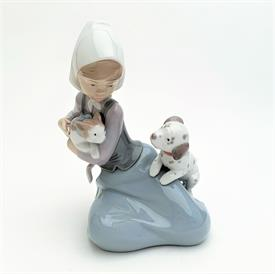 """,5032 'LITTLE FRISKIES' GIRL WITH DOG & CAT FIGURINE. 7"""" TALL, 5.2"""" LONG, 4.5"""" WIDE"""