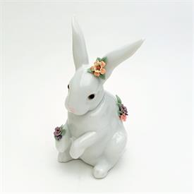 ",6100 'SITTING BUNNY WITH FLOWERS' FIGURINE WITH ORIGINAL BOX. 5.6"" TALL, 2.5"" WIDE, 3.1"" LONG"