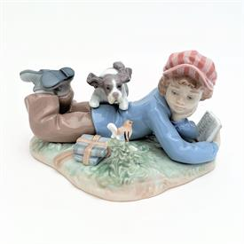 ",5451 'STUDY BUDDIES' BOOY WITH DOG & BIRD FIGURINE WITH ORIGINAL BOX. 3.8"" TALL, 6.75"" LONG, 5.5"" WIDE"