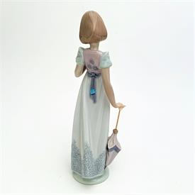 ",7611 'SUMMER STROLL' GIRL WITH PARASOL, BIRD & CAT 1991 COLLECTOR'S SOCIETY FIGURINE WITH ORIGINAL BOX. 9"" TALL"