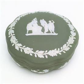 ",CREAM ON CELADON JASPERWARE LARGE CANDY DISH WITH ICARUS & DAEDALUS ON LID. 5"" WIDE. 2.2"" TALL"