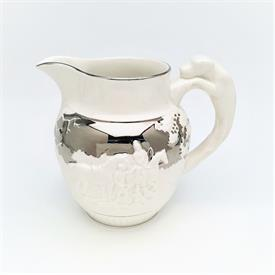 ",D'YE KEN JOHN PEELE PITCHER IN SILVER/PLATINUM. 5.6"" TALL. CA. 1940'S"