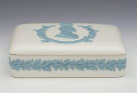 ",LAVENDER ON CREAM 'HRH DUKE OF EDINBURGH' BOX. CA. 1953. 5.25"" LONG, 3.8"" LONG, 2.5"" TALL"