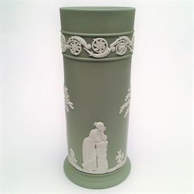 ",6.5"" CREAM ON CELADON JASPERWARE SPILL VASE"