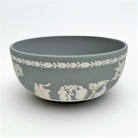 ,CREAM ON CELADON JASPERWARE TEA CUP & SAUCER