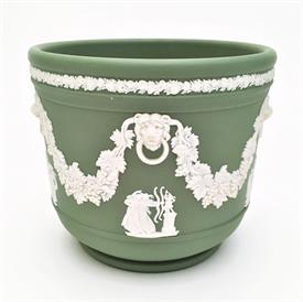 ",CREAM ON CELADON JASPERWARE 4.5"" CACHEPOT."