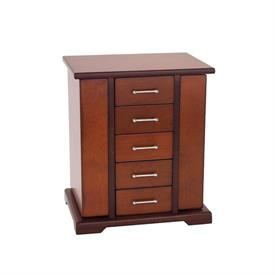 """,_691CC JULIET JEWELRY ARMOR.CHERRY 10 3/4 X 6.5""""  WITH 5 DRAWER FRONT WITH SIDE OPENINGS. WAS $200"""