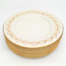 ",SET OF 10 'BELTANE' GOLD DINNER PLATES. CA. 1930'S. 10.5"" WIDE. RARE"