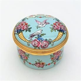 ",EGG SHAPED TRINKET BOX WITH BLUEBELL MOTIF. RETIRED. 2.5"" LONG, 1.8"" WIDE"