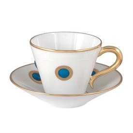 -SET OF 6 BLUE ACCENT COFFEE CUPS & SAUCERS.