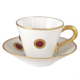 -SET OF 6 MOROCCAN RED ACCENT COFFEE CUPS & SAUCERS.