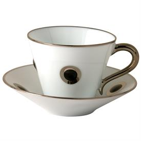 -SET OF 2 BLACK ACCENT COFFEE CUPS & SAUCERS