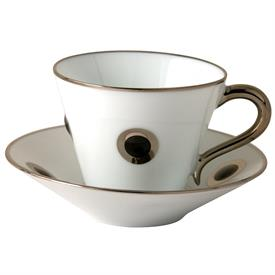 -SET OF 2 BLACK ACCENT COFFEE CUPS & SAUCERS.