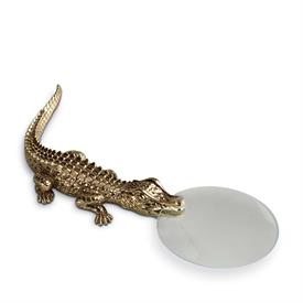 "-CU9670 CROCODILE MAGNIFYING GLASS GOLD PLATED.7.5""IN LENGTH."