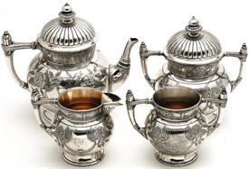 ",Southington Silver Plated 4 piece Tea Set:  Tea Pot 7.5"" tall, Sugar bowl with lid, creamer, an additional sugar bowl small no lid"