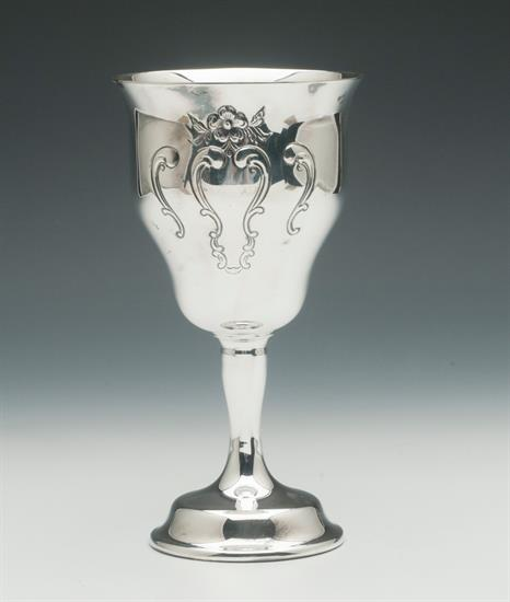 """,WATER GOBLETS 6.5"""" TALL SILVER PLATED IN CHANTILLY BY GORHAM"""