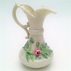 ",SMALL ABERDEEN PITCHER/EWER WITH APPLIED FLOWERS. 6TH MARK (3RD GREEN) CA. 1965-1980. 6.25"" TALL"