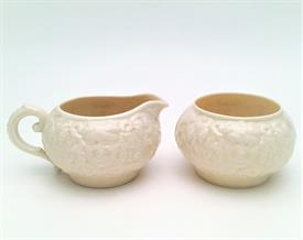 ,BACCHUS 'MASK' PATTERN IN CREAM CREAMER & SUGAR BOWL SET. 7TH GOLD MARK, CA. 1980-1989