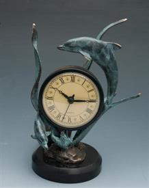 "-,DOLPHIN CLOCK 8 1/2"" H X 5 1/2 W     BASE 3 1/2 W"