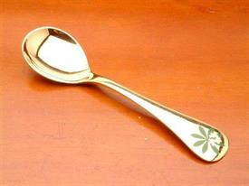 "1975 GEORGE JENSEN ANNUAL CHRISTMAS SPOON. 'WOODRUFF'. STERLING W/ GOLD WASH & ENAMEL INSET IN HANDLE. 6"" LONG, 1.45 TROY OZ."