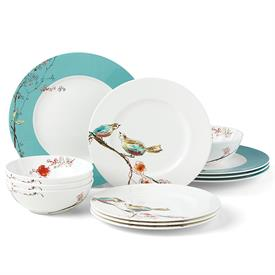 -AQUA 12 PIECE SET. INCLUDES 4 DINNER PLATES, 4 SALAD PLATES, & 4 BOWLS