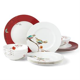 -SCARLET 12 PIECE SET. INCLUDES 4 DINNER PLATES, 4 SALAD PLATES, & 4 BOWLS
