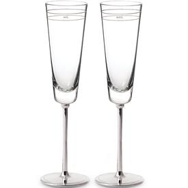 "-MR. & MRS. TOASTING FLUTE PAIR. SILVERPLATED ZINC ALLOY & GLASS. 10"" TALL. BREAKAGE REPLACEMENT AVAILABLE."