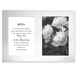 "-DOUBLE 5X7"" INVITATION FRAME IN SILVER PLATED ZINC ALLOY. 12.8"" LONG, 8.9"" TALL. BREAKAGE REPLACEMENT AVAILABLE."