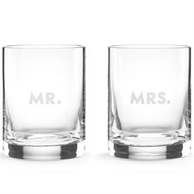-,MR.& MRS. DOF GLASS SET. ETCHED ON SIDE OF GLASS.