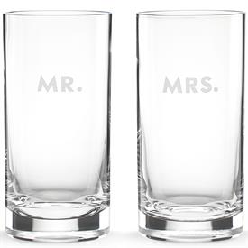 -,MR.& MRS. HIGHBALL GLASS SET, ETCHED ON SIDE OF GLASS.