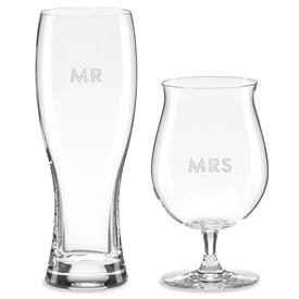 -MR & MRS BEER GLASS SET. HOLDS 24 OUNCES