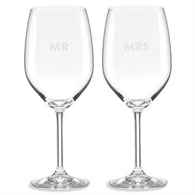 -MR & MRS WINE GLASSES. NON-LEAD CRYSTAL. EACH HOLDS 18OZ.