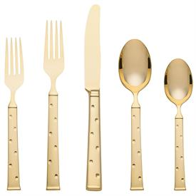 -GOLD 5-PIECE PLACE SETTING. INCLUDES PLACE KNIFE, PLACE FORK, SALAD FORK, PLACE SPOON, & TEASPOON. BREAKAGE REPLACEMENT AVAILABLE.